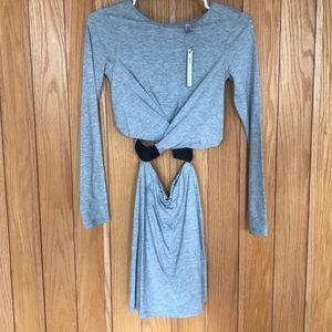 ASOS Petite Bodycon Cut-out Grey Dress
